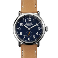 41mm Runwell Leather Strap Watch, Brown/Blue - Shinola