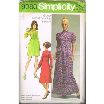 Simplicity 9080 Retro 70s Sewing Pattern Boho Hippie Prairie Style Party Dress High Neck