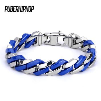 Fashion Link Chain Stainless Steel Blue and Silver Bracelet Men Heavy 10MM Wide