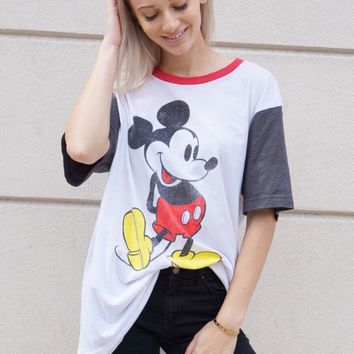 Colorblock Sleeves Mickey Tee