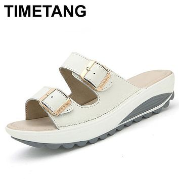 TIMETANG New Summer women sandals buckle genuine leather platform shoes rubber outsole woman soft beach sliders wedges sandals