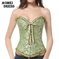 Women Green Beige Lace Bow Tie Corset Espartilho Bustiers waist training corsets Plus Size steampunk Clothing Corselet