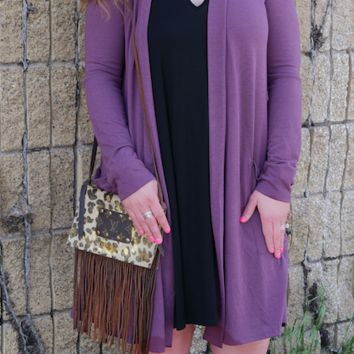 Egg Plant Modal Duster with Pockets