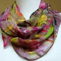 Scarf silk handpainted  accessory shawl wrap dyed-  unique gift woman wife- green violet multi  fashion designer made in the Hudson Valley
