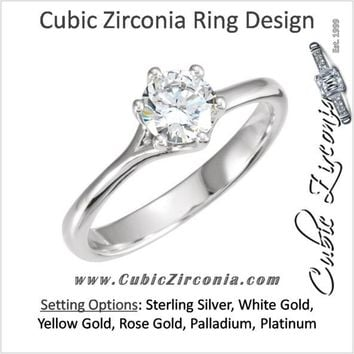 Cubic Zirconia Engagement Ring- The Allison (0.75 Carat Classic Round Solitaire)