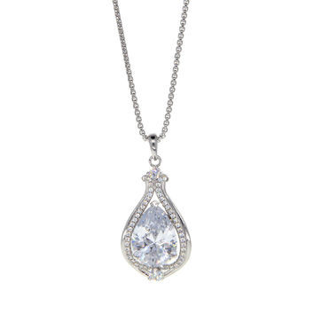 Dear Deer White Gold Plated Teardrop Inverted Heart CZ Pave Pendant Necklace 5a6bea358644