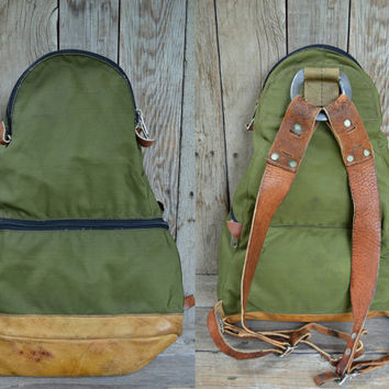 Vintage RARE Holubar Forest Green Cordura & Leather Bottom Teardrop Rucksack Backpack