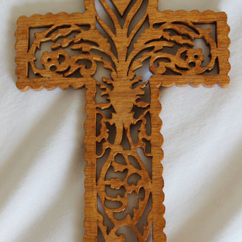 Scroll Saw Wood Carved Hanging Cross by p4pministry on Etsy