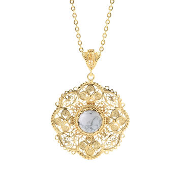 12mm Gemstone & Flower Turkish Filigree Pendant