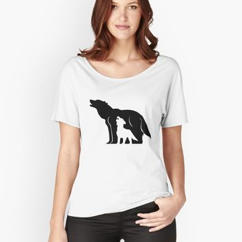 'Black and White Wolves' Women's Relaxed Fit T-Shirt by thekohakudragon