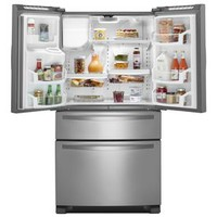 Shop Whirlpool 24.7-cu ft 4-Door French Door Refrigerator with Ice Maker (Monochromatic Stainless Steel) at Lowes.com