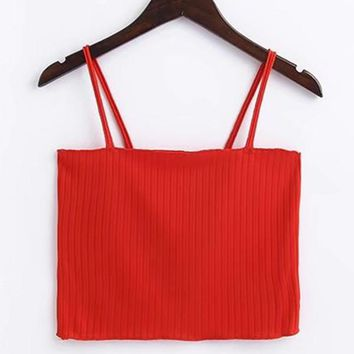 Rib Cami Crop Top RED