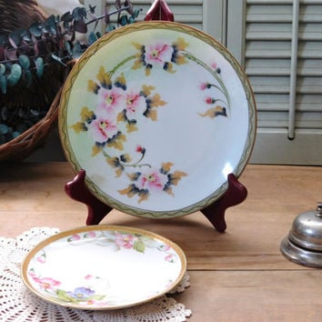 Antique Nippon Hand Painted Plates Set of 2