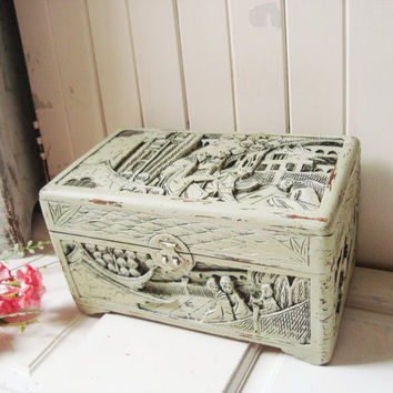 Vintage Asian Carved Wooden Jewelry Box, Sage Green Distressed Wooden Jewelry Holder, Unisex Jewelry Storage Box, Antique Green Box