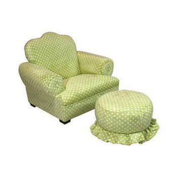Komfy Kings, Inc 24002 Little Queen Green Dots Tween Chair and Ottoman