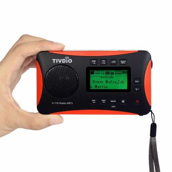 TIVDIO Portable Radio FM MW SW World Receiver USB/SD Card With MP3 Player/Sleep Timer Alarm Clock Recorder/E-book/Calendar F9206