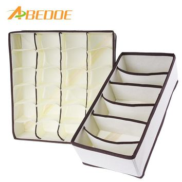 ABEDOE 2PCS Underwear Bra Organizer Storage Beige Drawer Closet Collapsible Organizers Boxes For Underwear Scarfs Socks Bra