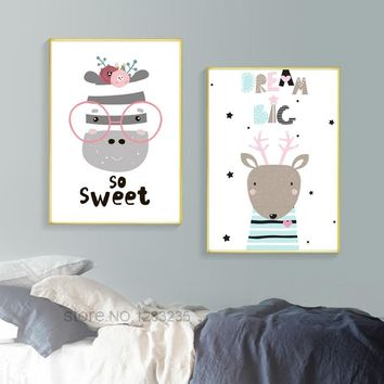 Nordic Style Kids Decoration Infantil Nordic Poster Wall Art Canvas Painting Sweet Baby Balloon Cuadros Decoracion Home Unframed