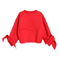 Tie Up Sleeve Fashion Sweatshirt
