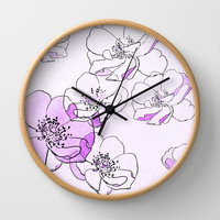 Painted Wild Roses Purple Wall Clock by ALLY COXON