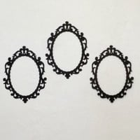 3 Large black ornate frame shape cutouts party decorations. hanging, chic, french, wedding, bridal shower mirror mirror home decor reception