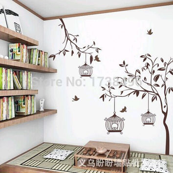Removable Wall Stickers Tree and Birdcages Home Decoration  115*145cm