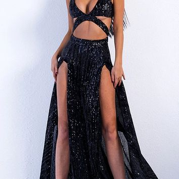 Dreaming Of You Black Sequin Sleeveless Plunge V Neck Cut Out Double Slit Maxi Gown Dress
