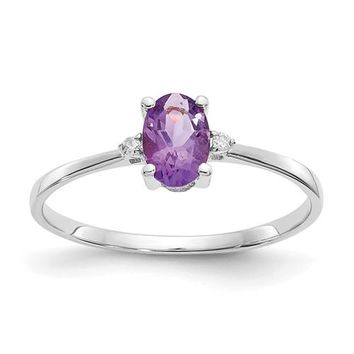 14k or 10k White Gold Diamond & Amethyst Oval February Birthstone Ring