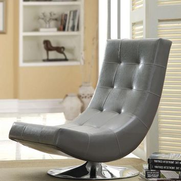Walder Modern Tufted Leatherette Swivel Chair Gray