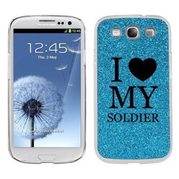 Light Blue Samsung Galaxy S3 SIII i9300 Glitter Bling Hard Case Cover KG89 I Love My Soldier