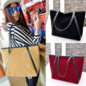New Fashion Women Nubuck Leather Tote One Shoulder Big Bags Handbags Shoulder Bag