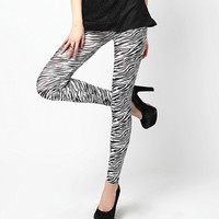 Skinny Black and White Zebra Print Legging