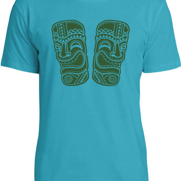 Laughing Tiki Statues (Green) Mens Fine Jersey T-Shirt