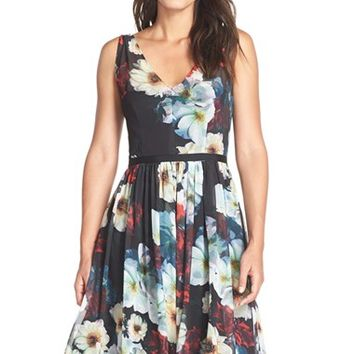Women's Maggy London Floral Chiffon Fit & Flare Dress,
