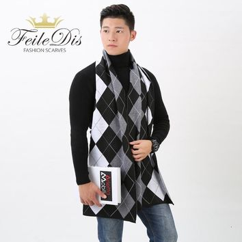 [FEILEDIS]2017 autumn and winter men's British cashmere scarf business men's lattice thick warm scarf FD159