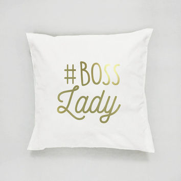 Lady Boss Pillow, Typography Pillow, Gold Pillow, Home Decor, Cushion Cover, Throw Pillow, Bedroom Decor, Bed Pillow, Decorative Pillow