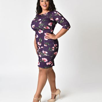 Unique Vintage Plus Size 1960s Style Purple Floral Long Sleeve Mod Wiggle Dress