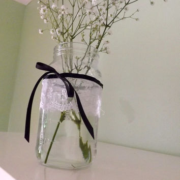 10 Mason Jar and Lace Table Decorations for Vases or Candle Holders for Weddings, Birthday Parties, or Garden Parties