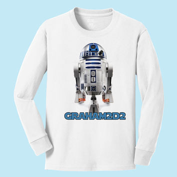 Personalized Star Wars R2D2 personalized long sleeve T shirt
