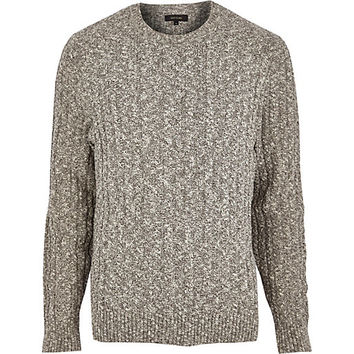 River Island MensGrey cable knit sweater