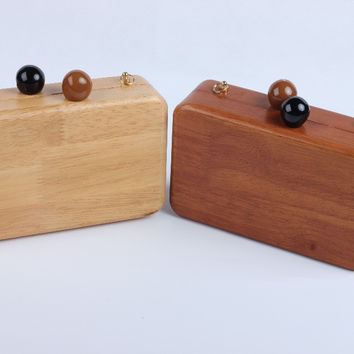Fall and winter retro pure handmade wooden square ball first lady evening bag