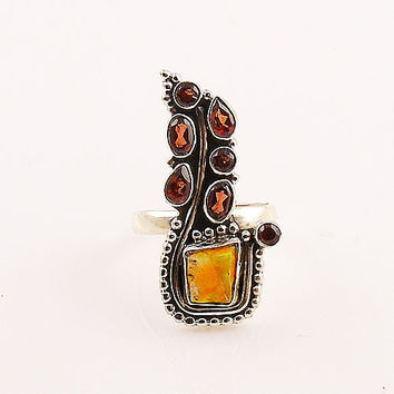 Ethiopian Opal Rough & Garnet Paisley Sterling Silver Ring