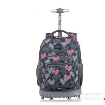 VONG2W TILAMI Children Trolley School Bags kids Trolley Backpack 18 inch Travel Luggage Backpack with Wheels Rolling Backpack For Girls