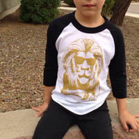 Gold Lion Lionel Lions Black and White Baseball Tee Tshirt - Boys or Girls Baby, Toddler Clothing, Photo Shoot Animal Birthday Party