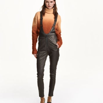 Leather Bib Overalls - from H&M