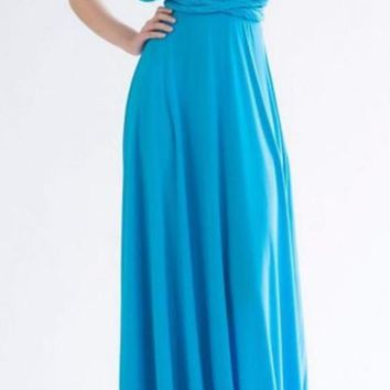 Women's Turquoise/Teal Blue Amazing Convertible Wear How You Want Maxi Dress