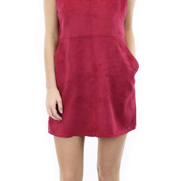 BCBGeneration | faux suede dress (deep red)