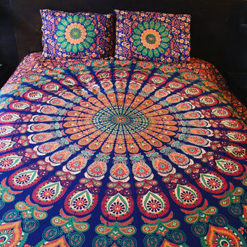 Roundie mandala  duvet cover and pillowcases, Indian tapestry doona cover, Boho comforter cover, mandala tapestry boho bedding