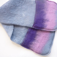 Hand felted Oven Mitts extra long and extra wide for big pots and large hands dove grey, pink and purple. Ready to ship