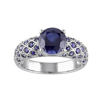 Lab-Created Sapphire 10k White Gold Scalloped Ring (Blue)
